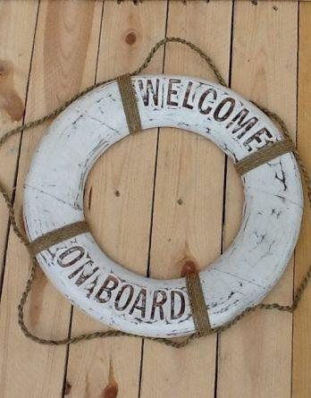Rettungsring klein retro weiss Welcome on Board neu