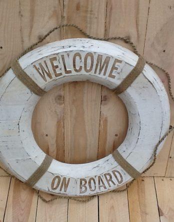 Rettungsring retro weiss Welcome on Board IV