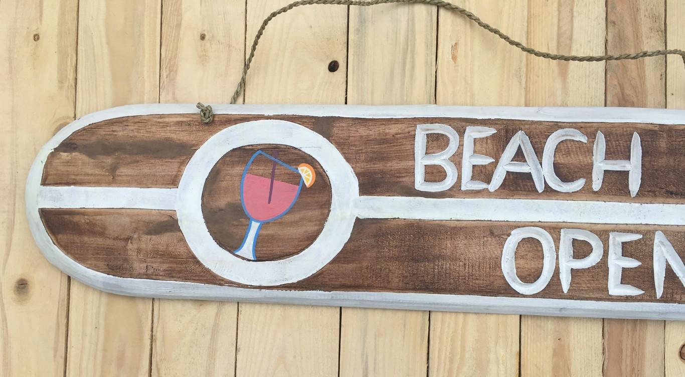 Bar Deko holzschild bar open strandliebe