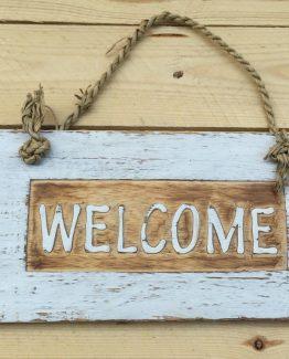 Holzschild Welcome Retroweiss 2 (Medium)