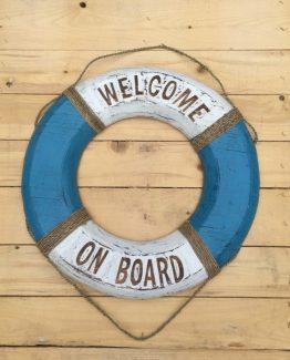 Rettungsring holz Welcome on board blau weiss (Medium)