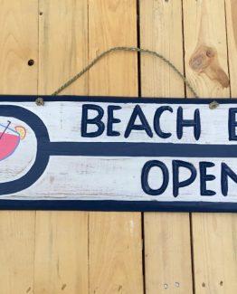 holzschild beach bar open holzdeko textschild beachbar