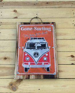 blech holz bild vw bus gone surfing III (Medium)