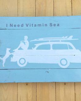Holzbild i need vitamin sea (Medium)