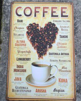 blechschild text coffee