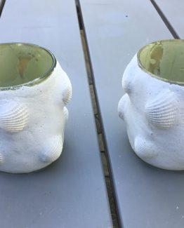 teelichter glas mit muschel