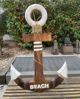 Anker Beach braun-weiss